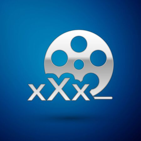 Silver Film reel with inscription XXX icon isolated on blue background. Age restriction symbol. 18 plus content sign. Adult channel. Vector Illustration