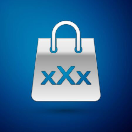 Silver Shopping bag with a triple X icon isolated on blue background. Vector Illustration