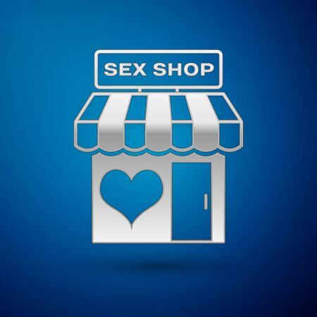 Silver Sex shop building with striped awning icon isolated on blue background. Sex shop, online sex store, adult erotic products concept. Vector Illustration Illustration