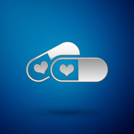 Silver Pills for potency, aphrodisiac icon isolated on blue background. Sex pills for men and women. Vector Illustration