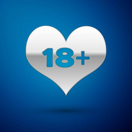 Silver 18 plus content heart icon isolated on blue background. Adults content only icon. Vector Illustration