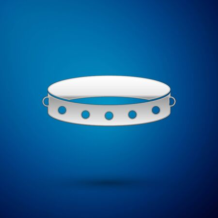 Silver Leather fetish collar with metal spikes on surface icon isolated on blue background. Fetish accessory. Sex toy for men and woman. Vector Illustration