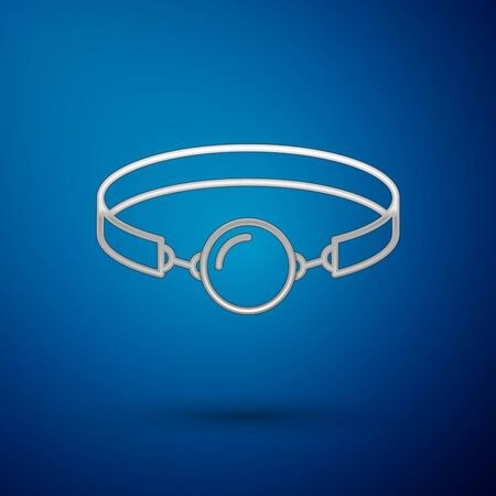 Silver Silicone ball gag with a leather belt icon isolated on blue background. Fetish accessory. Sex toy for men and woman. Vector Illustration