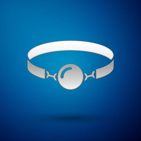 Silver Silicone ball gag with a leather belt icon isolated on blue background. Fetish accessory. Sex toy for men and woman. Vector Illustration Archivio Fotografico - 128274166