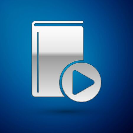 Silver Audio book icon isolated on blue background. Play button and book. Audio guide sign. Online learning concept. Vector Illustration