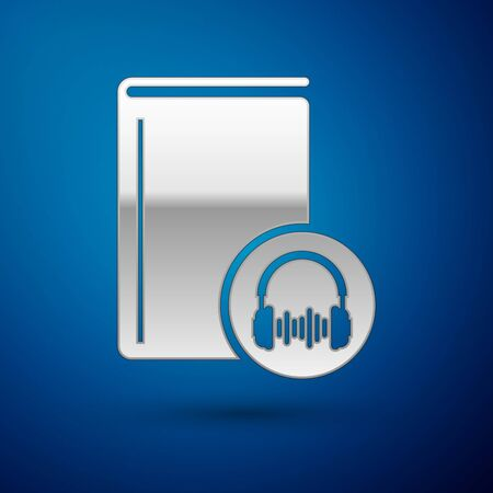 Silver Audio book icon isolated on blue background. Book with headphones. Audio guide sign. Online learning concept. Vector Illustration Vektoros illusztráció