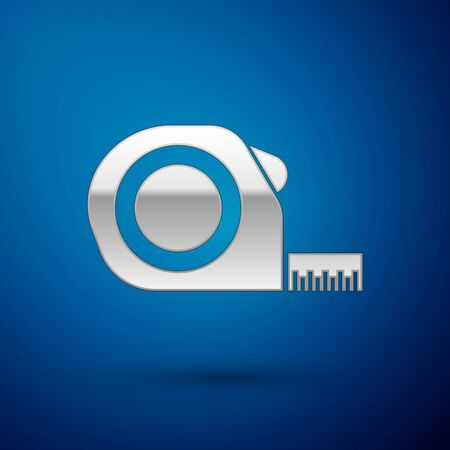 Silver Roulette construction icon isolated on blue background. Tape measure symbol. Vector Illustration