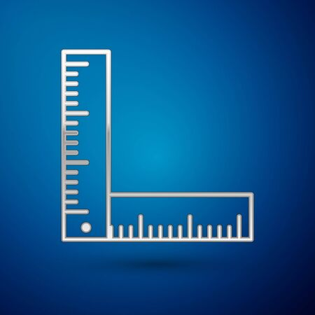 Silver Folding ruler icon isolated on blue background. Vector Illustration
