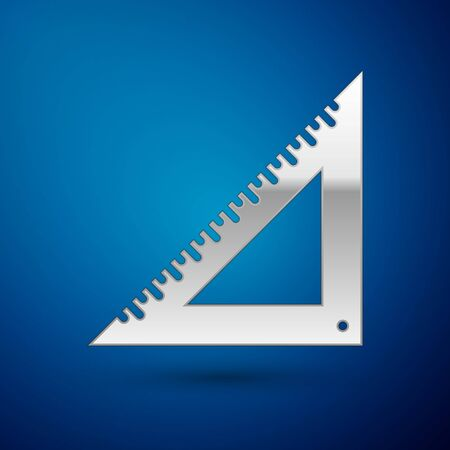 Silver Triangular ruler icon isolated on blue background. Straightedge symbol. Geometric symbol. Vector Illustration