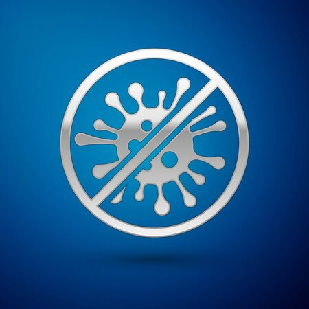 Silver Stop virus, bacteria, germs and microbe icon isolated on blue background. Antibacterial and antiviral defense, protection infection. Vector Illustration