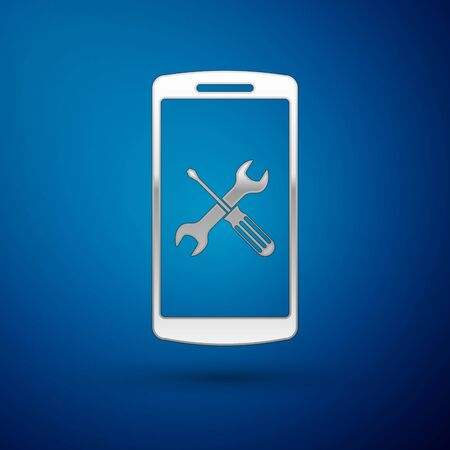 Silver Smartphone with screwdriver and wrench icon isolated on blue background. Adjusting, service, setting, maintenance, repair, fixing. Vector Illustration