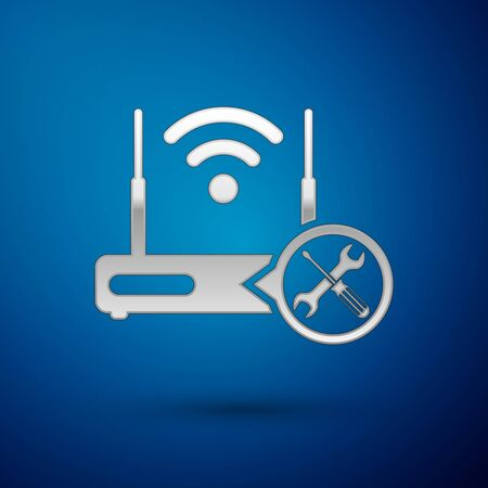 Silver Router wifi with screwdriver and wrench icon isolated on blue background. Adjusting, service, setting, maintenance, repair, fixing. Vector Illustration Çizim