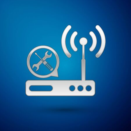 Silver Router wifi with screwdriver and wrench icon isolated on blue background. Adjusting, service, setting, maintenance, repair, fixing. Vector Illustration Illustration