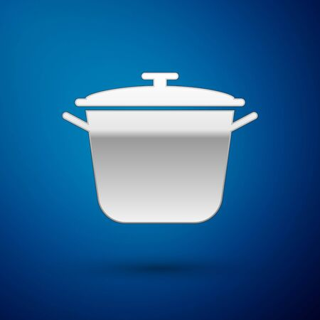 Silver Cooking pot icon isolated on blue background. Boil or stew food symbol. Vector Illustration