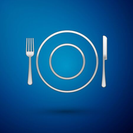 Silver Plate, fork and knife icon isolated on blue background. Cutlery symbol. Restaurant sign. Vector Illustration