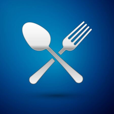 Silver Crossed fork and spoon icon isolated on blue background. Cooking utensil. Cutlery sign. Vector Illustration