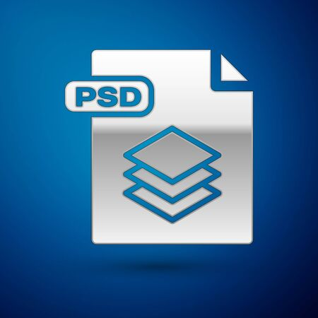 Silver PSD file document. Download psd button icon isolated on blue background. PSD file symbol. Vector Illustration