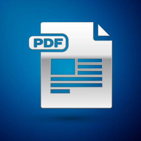 Silver PDF file document. Download pdf button icon isolated on blue background. PDF file symbol. Vector Illustration
