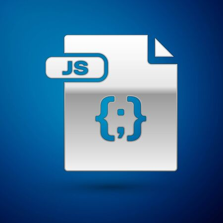 Silver JS file document. Download js button icon isolated on blue background. JS file symbol. Vector Illustration  イラスト・ベクター素材