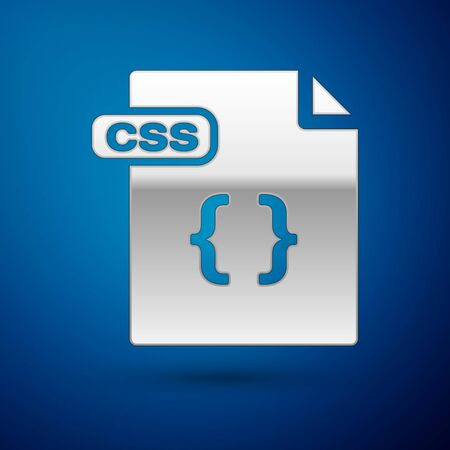 Silver CSS file document. Download css button icon isolated on blue background. CSS file symbol. Vector Illustration