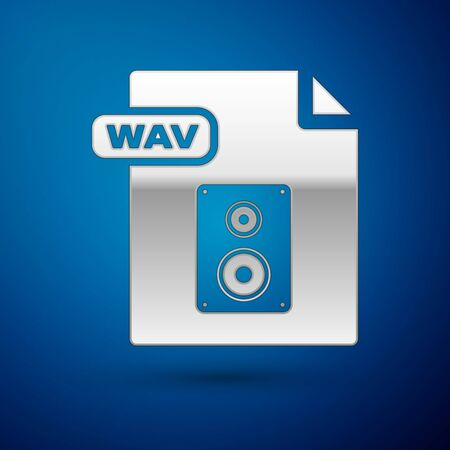 Silver WAV file document. Download wav button icon isolated on blue background. WAV waveform audio file format for digital audio riff files. Vector Illustration Illustration