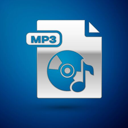 Silver MP3 file document. Download mp3 button icon isolated on blue background. Mp3 music format sign. MP3 file symbol. Vector Illustration