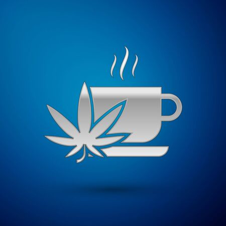 Silver Cup tea with marijuana or cannabis leaf icon isolated on blue background. Marijuana legalization. Hemp symbol. Vector Illustration Illustration