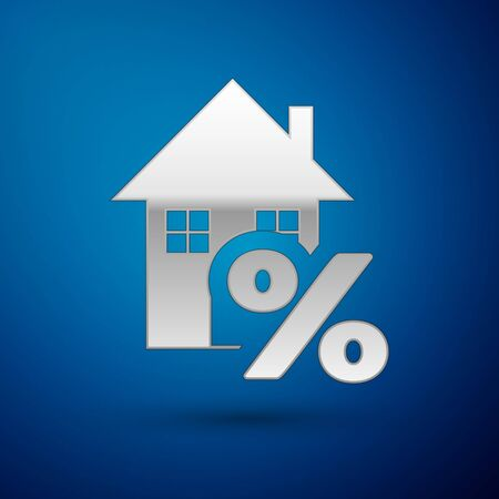 Silver House with percant discount tag icon isolated on blue background. House percentage sign price. Real estate home. Credit percentage symbol. Vector Illustration Illustration