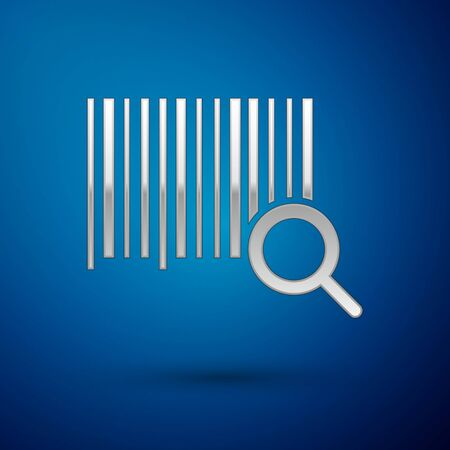 Silver Search barcode icon isolated on blue background. Magnifying glass searching barcode. Barcode label sticker. Research barcode. Vector Illustration