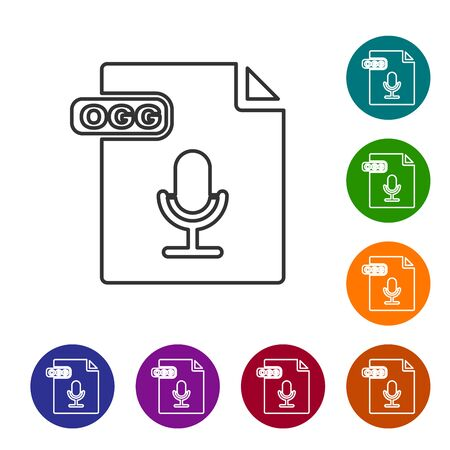 Grey line OGG file document. Download ogg button icon isolated on white background. OGG file symbol. Set icons in color circle buttons. Vector Illustration Illustration