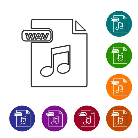 Grey line WAV file document. Download wav button icon isolated on white background. WAV waveform audio file format for digital audio riff files. Set icons in color circle buttons. Vector Illustration Illustration