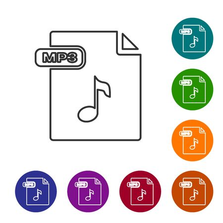 Grey line MP3 file document. Download mp3 button icon isolated on white background. Mp3 music format sign. MP3 file symbol. Set icons in color circle buttons. Vector Illustration