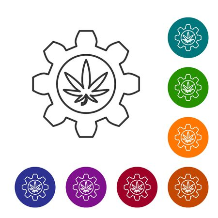 Grey line Chemical test tube with marijuana or cannabis leaf icon isolated on white background. Research concept. Laboratory CBD oil concept. Set icons in color circle buttons. Vector Illustration