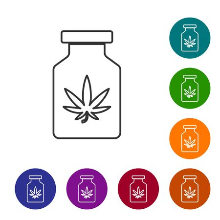 Grey line Medical bottle with marijuana or cannabis leaf icon isolated on white background. Mock up of cannabis oil extracts in jars. Set icons in color circle buttons. Vector Illustration