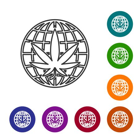 Grey line Legalize marijuana or cannabis globe symbol icon isolated on white background. Hemp symbol. Set icons in color circle buttons. Vector Illustration