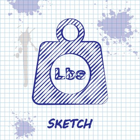 Sketch line Weight pounds icon isolated on white background. Pounds weight block for weight lifting and scale. Mass symbol. Vector Illustration