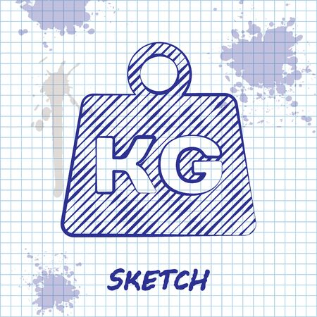 Sketch line Weight icon isolated on white background. Kilogram weight block for weight lifting and scale. Mass symbol. Vector Illustration