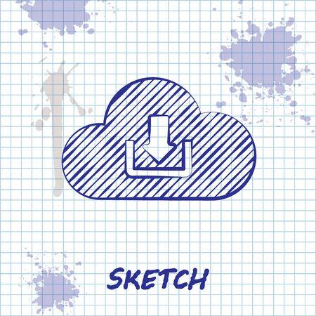 Sketch line Cloud download icon isolated on white background. Vector Illustration Ilustração