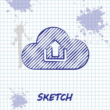 Sketch line Cloud upload icon isolated on white background. Vector Illustration