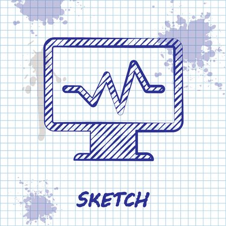 Sketch line Computer monitor with cardiogram icon isolated on white background. Monitoring icon. ECG monitor with heart beat hand drawn. Vector Illustration