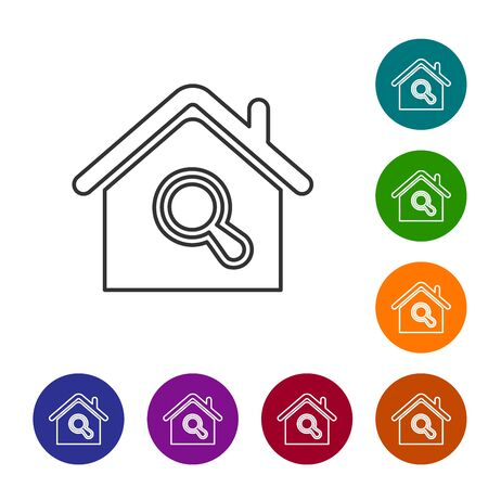 Grey line Search house icon isolated on white background. Real estate symbol of a house under magnifying glass. Set icons in color circle buttons. Vector Illustration