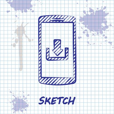 Sketch line Smartphone with download icon isolated on white background. Vector Illustration