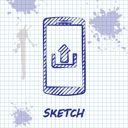 Sketch line Smartphone with upload icon isolated on white background. Vector Illustration