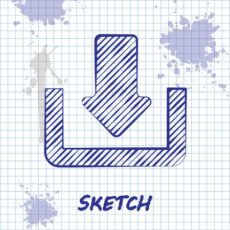 Sketch line Download icon isolated on white background. Upload button. Load symbol. Arrow point to down. Vector Illustration Ilustracja