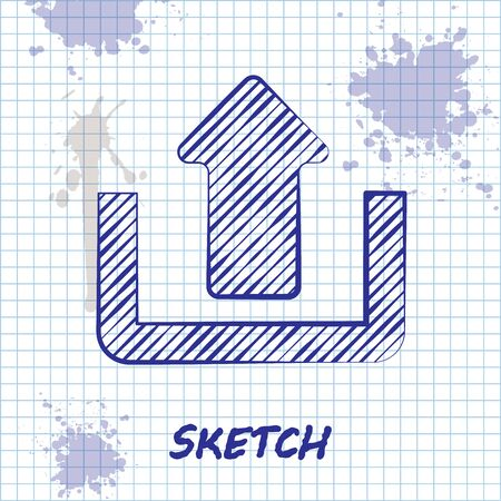 Sketch line Upload icon isolated on white background. Up arrow. Vector Illustration