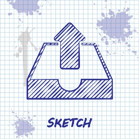 Sketch line Upload inbox icon isolated on white background. Vector Illustration Ilustracja