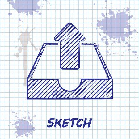 Sketch line Upload inbox icon isolated on white background. Vector Illustration Illustration