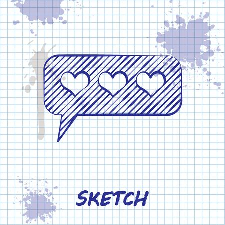 Sketch line Like and heart icon isolated on white background. Counter Notification Icon.