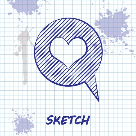 Sketch line Heart in speech bubble icon isolated on white background. Heart shape in message bubble. Love sign. Valentines day symbol.