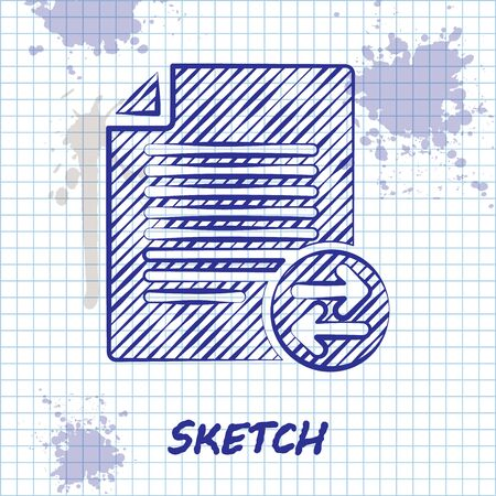 Sketch line Transfer files icon isolated on white background. Copy files, data exchange, backup, PC migration, file sharing concepts. Vector Illustration